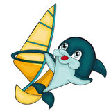 Windsurfing with dolphin.  Cartoon style. Clip art for children. Royalty Free Stock Photo