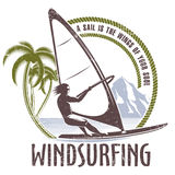 Windsurfing emblem on a white background Stock Images