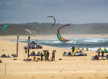 Windsurfing event. Enthusiastic windsurfers meet at Lake Tabourie, NSW South Coast, Australia Royalty Free Stock Photos
