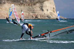 Windsurfing-fall royalty free stock photography