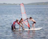 Windsurfing fun stock image