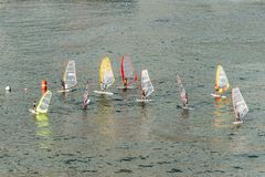 Windsurfing in Funchal, Madeira Island, Portugal Stock Images