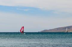Windsurfing. In Gokceada, Turkey in the summer stock image
