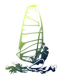 Windsurfing on green wave Stock Photo