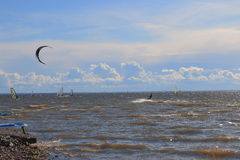 Windsurfing on the Gulf of Finland Royalty Free Stock Photo