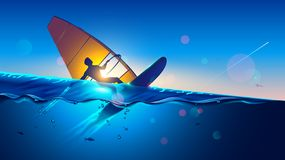 windsurfing Hombre joven en el vuelo del tablero que practica surf del viento en las ondas Windsurfer en paisaje del mar Deporte  imagen de archivo libre de regalías