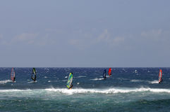 Windsurfing At Hookipa Beach Park, Maui, Hawaii. This beach is known as possibly the best place in the world for windsurfing. It is the site of two major world Stock Photography