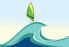 Windsurfing illustration Royalty Free Stock Images