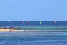 Windsurfing in an island of Fiji stock images