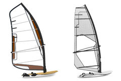 Windsurfing isolated. Boats Stock Image