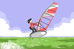 Windsurfing jumping on the sea Royalty Free Stock Photos