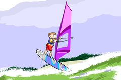Windsurfing jumping on the sea Stock Photography