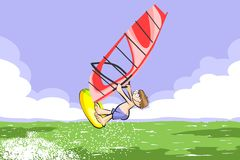 Windsurfing jumping on the sea Stock Image