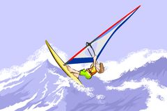 Windsurfing jumping on waves Stock Photography