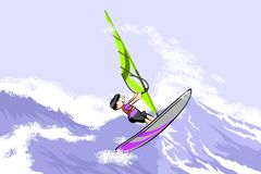 Windsurfing jumping on waves Royalty Free Stock Image