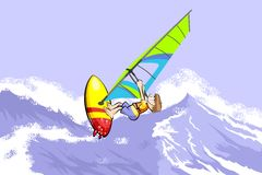 Windsurfing jumping on waves Stock Photos