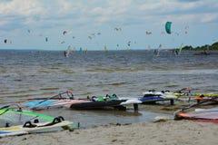 Windsurfing and kitesurfing Stock Image