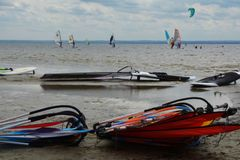 Windsurfing and kitesurfing Royalty Free Stock Images