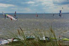 Windsurfing and kitesurfing Royalty Free Stock Photo