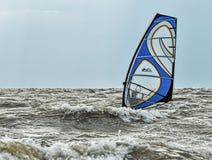 Windsurfing and kitesurfing on the Dolzhanka, Krasnodar region, Stock Photo