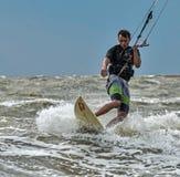 Windsurfing and kitesurfing on the Dolzhanka, Krasnodar region, Royalty Free Stock Images