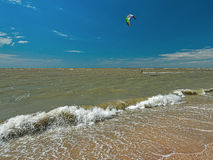 Windsurfing and kitesurfing on the Dolzhanka, Krasnodar region, Stock Images