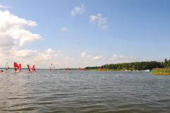 Windsurfing on lake Stock Image
