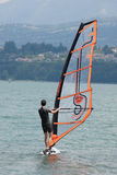 Windsurfing, Lake Bourget - Aix les Bains Savoie - France Stock Photo