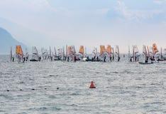 Windsurfing at Lake Garda Royalty Free Stock Image