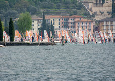 Windsurfing at Lake Garda Stock Image