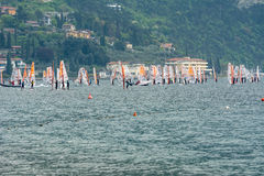 Windsurfing at Lake Garda Stock Photos
