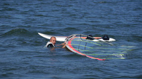 Windsurfing on the lake Nieslysz, Polish Royalty Free Stock Images
