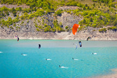 Windsurfing on the lake Serre-Poncon Stock Photography