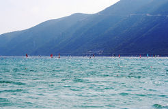 Windsurfing in Lefkada Stock Image