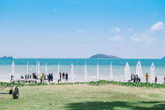 Windsurfing line at beach in Sattahip, Chonburi Stock Photos