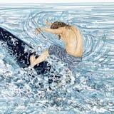 Windsurfing, mężczyzna z deskowym wkładem denny choppy wiatr i fala, royalty ilustracja