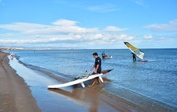 Windsurfing on Malvarrosa beach, Valencia Stock Image