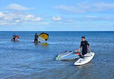 Windsurfing on Malvarrosa beach, Valencia Royalty Free Stock Images