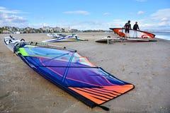 Windsurfing on Malvarrosa beach, Valencia Royalty Free Stock Photos