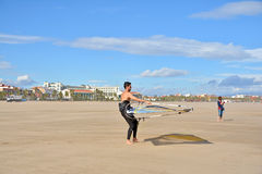 Windsurfing on Malvarrosa beach, Valencia Stock Images