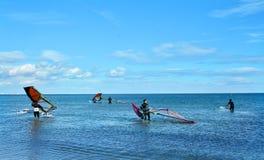 Windsurfing on Malvarrosa beach, Valencia Royalty Free Stock Image