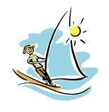 Windsurfing man. Extreme windsurfing man in sunny day Stock Illustration