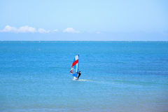 Windsurfing. A man windsurfing at sea Royalty Free Stock Photography
