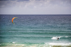 Windsurfing. Man wind surfing off Lake Tabourie, NSW South Coast, Australia Royalty Free Stock Image