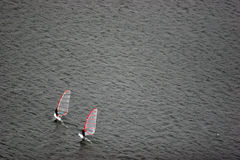 Windsurfing. Moscow river training of vidsanimated Royalty Free Stock Photography