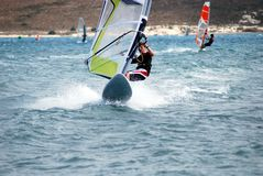 Windsurfing  on the move. Summer sport Royalty Free Stock Images