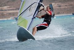 Windsurfing  on the move Stock Image