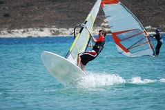 Windsurfing  on the move Stock Photos