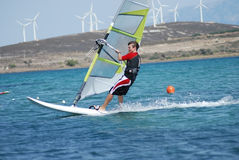 Windsurfing  on the move Stock Photo