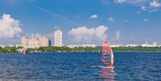 Windsurfing na cidade Foto de Stock Royalty Free